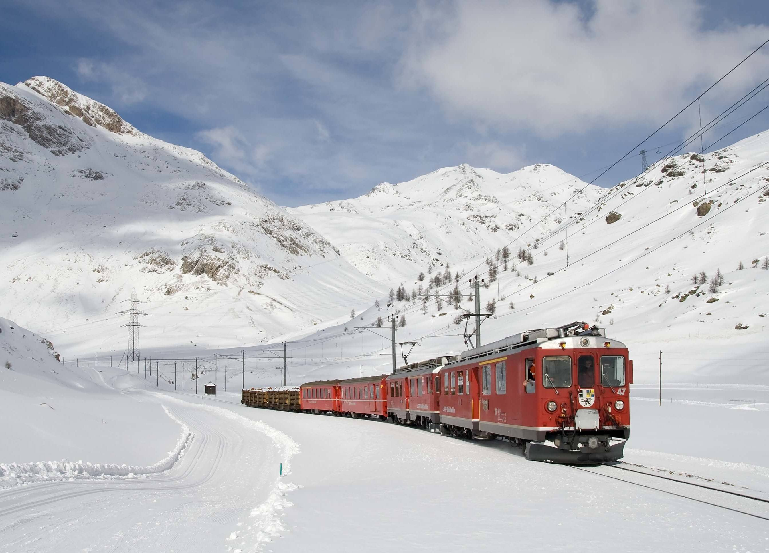 The Bernina Red Train - Brusio Viaduct
